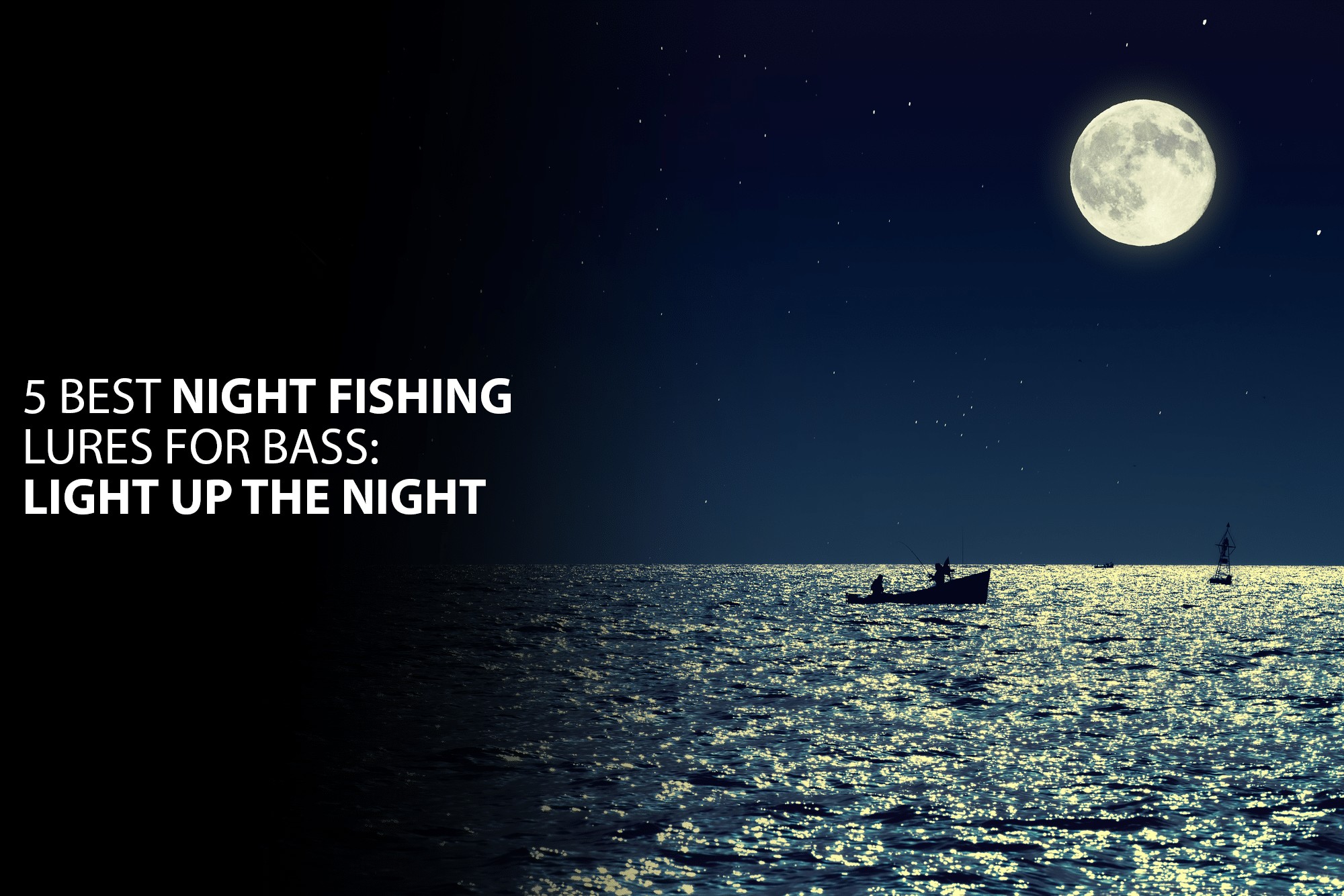 Scenic view of small fishing boat in calm sea water at night and full moon.