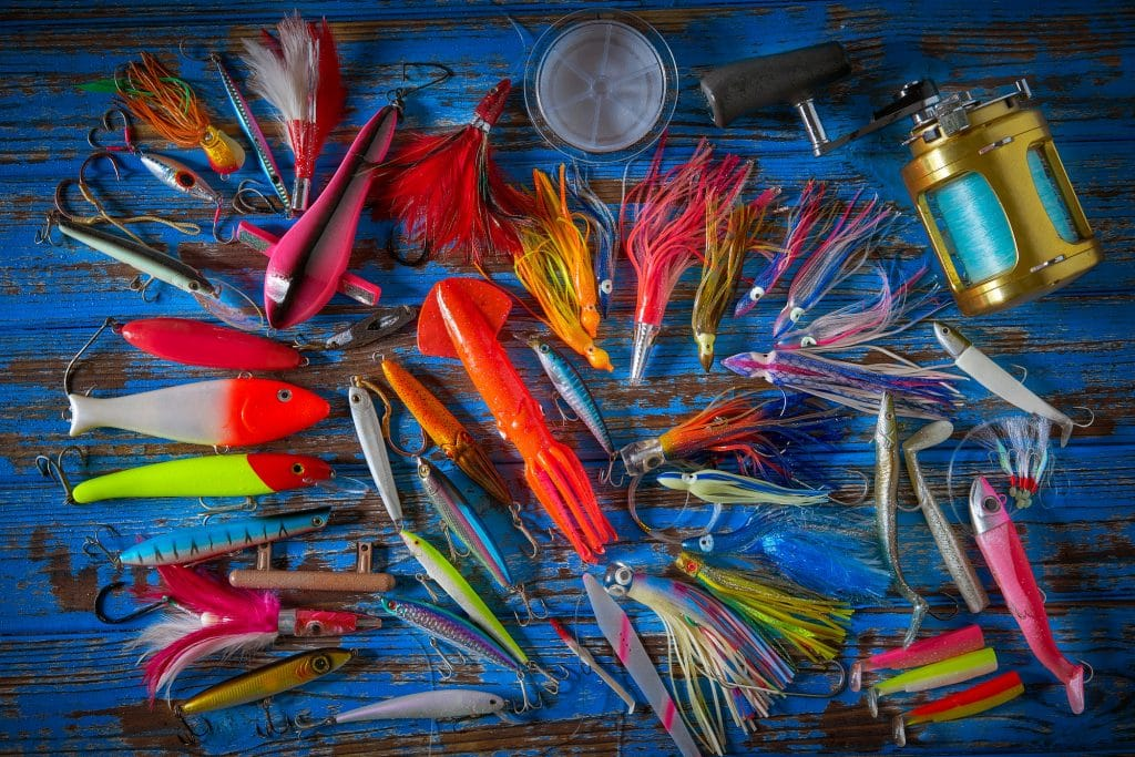 Fishing lures tackle collection for saltwater trolling and spinning angler