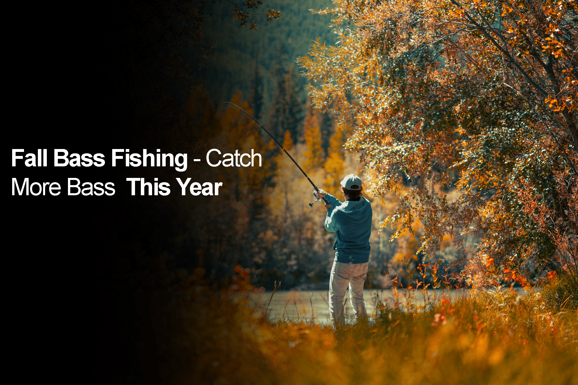 Amateur angler fishing on the autumn river