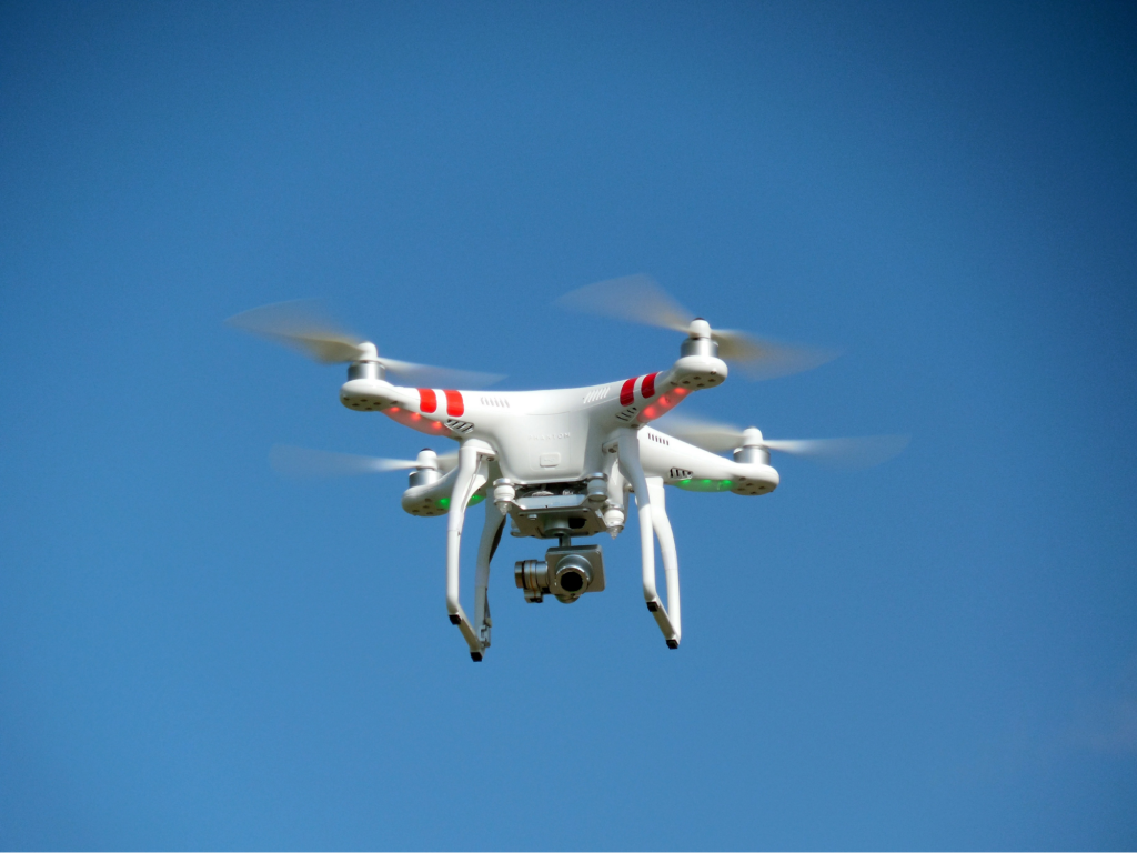 Drone with camera flying